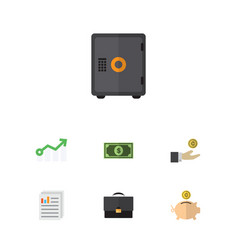 Flat icon incoming set of portfolio strongbox vector