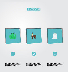 Flat icons halloween mythology dinosaur and vector