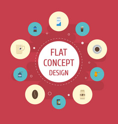 Flat icons ibrik latte saucer and other vector