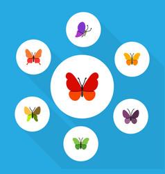 Flat monarch set of butterfly milkweed monarch vector
