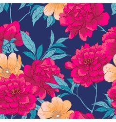 Floral hand drawn seamless pattern with flowers vector image