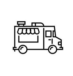 Food truck logo line icon foodtruck vector