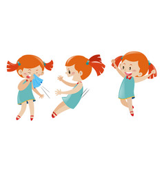 Girl in three different actions vector