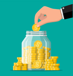 Glass money jar full gold coins and hand vector