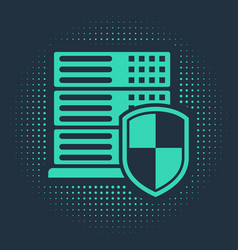 Green server with shield icon isolated on blue vector