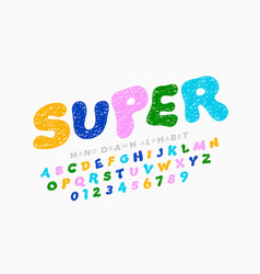 hand drawn doodle style kids font vector image