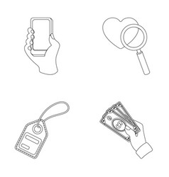 Hand mobile phone online store and other vector