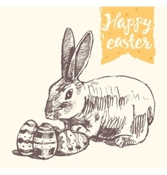 Happy Easter greeting card cute bunny eggs vector image