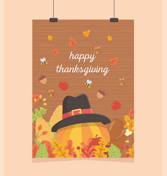 happy thanksgiving poster hanging pumpkin with hat vector image
