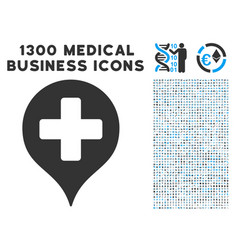 Hospital cross map marker icon with 1300 medical vector
