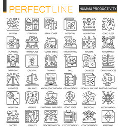 human productivity outline mini concept symbols vector image