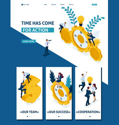 isometric time has come for action businessmen vector image