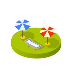 isometric view sunny beach with umbrellas vector image