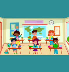 kids in classroom primary school happy children vector image
