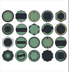 Labels round shapes blue set vector