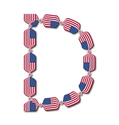 Letter D made of USA flags in form of candies vector image