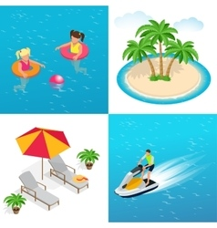 Little girls swimming in inflatable ring palm vector image