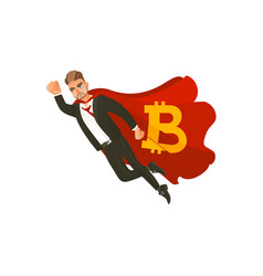 man flying as superman in cape with bitcoin symbol vector image
