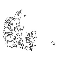 map of denmark icon black color flat style image vector image