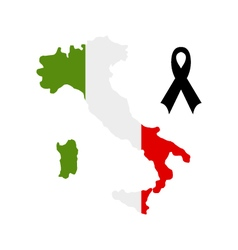 Map of Italy with mourning ribbon vector
