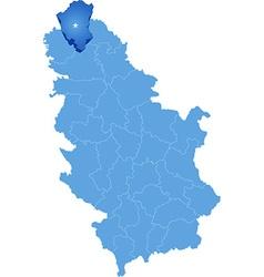 Map of Serbia Subdivision North Backa District vector
