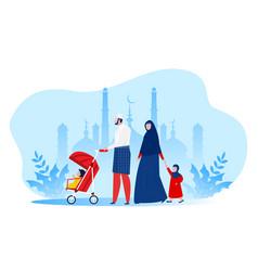 Muslim family walking in park kid cartoon vector