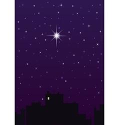 Night city dark blue sky and one big star vector