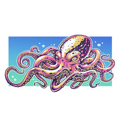 octopus graffiti art vector image