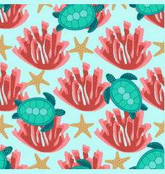 Pattern with turtles and coral vector