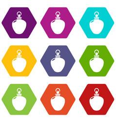 Perfume bottle merchandise icons set 9 vector