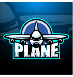 Plane mascot esport logo design vector