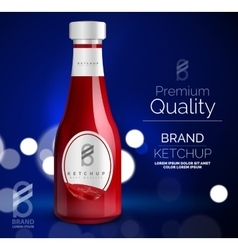 Premium ketchup ad template vector