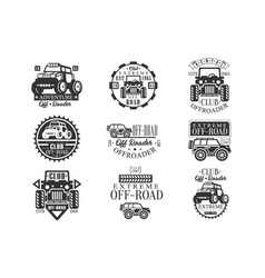 Quad bike rental club set of emblems with black vector