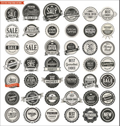quality retro vintage badges and labels collection vector image