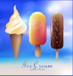 realistic ice cream desserts collection vector image