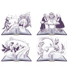 russian folk tales set open book vector image