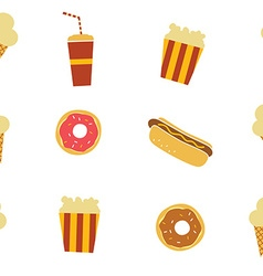 seamless fastfood restaurant theme pattern vector image