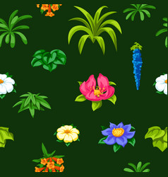 seamless pattern with tropical flowers exotic vector image