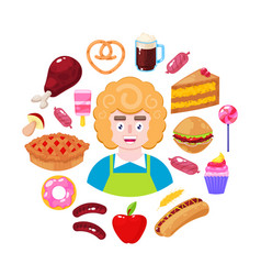 Seller and fast food vector