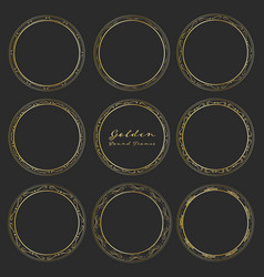 Set of golden round frames for decoration vector