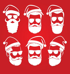 Set of hipster santa claus icon vector