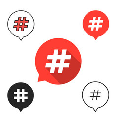 Set of speech bubbles with hashtag icon vector
