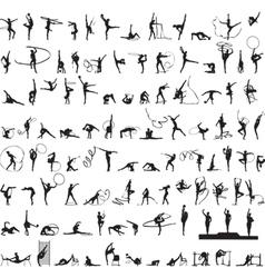 set silhouettes rhythmic gymnastics vector image