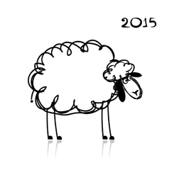 Sheep sketch symbol of new year 2015 vector