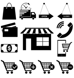 Shopping icons set Web-story flat style vector image