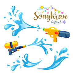 Sign songkran festival and water collection vector