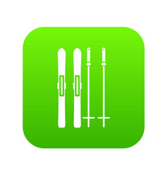 skis and ski poles icon digital green vector image