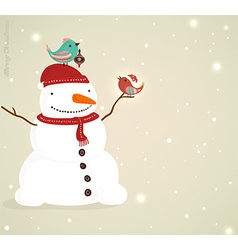 Snow Man with Singing Birds Background vector
