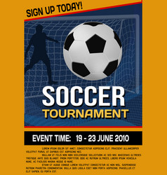 soccer tournament flyer or poster background vector image