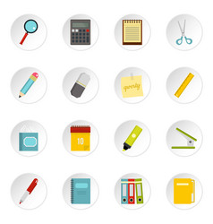 stationery symbols icons set in flat style vector image